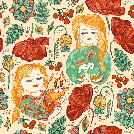 seamless pattern with young girls with cat and bird. Flowers, poppy, leaves, berries,rowan, green, red and yellow, 向量圖像