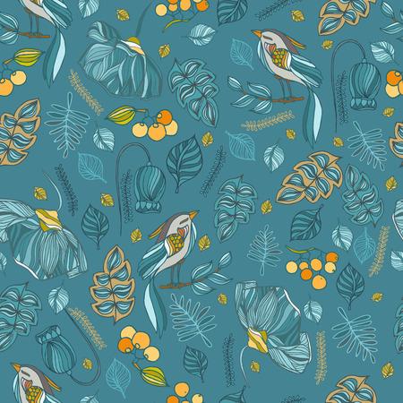 Stoff dekorative nahtlose Muster mit Vögeln, Blättern, Blüten und Beeren.