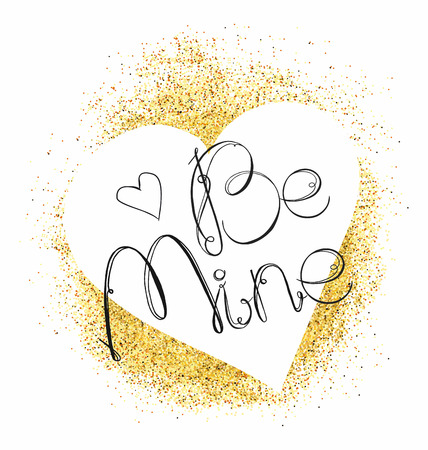 be mine: White heart and letters be mine on Gold glitter background. Vector illustration. Greeting card