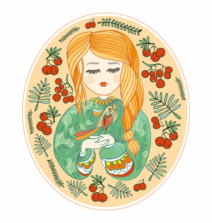 young bird: pretty Young girl with a bird. Yellow, green and red vector decorative illustration