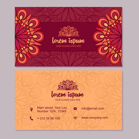 Visiting card and business card set with mandala design element vector visiting card and business card set with mandala design element abstract oriental design layout front page and back page colourmoves