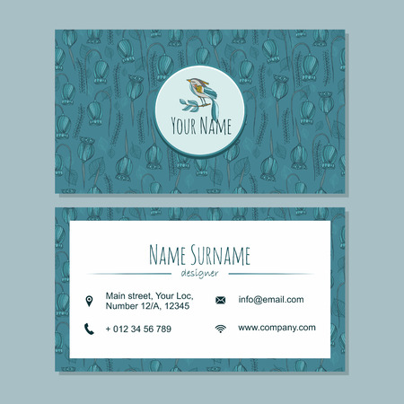 businesscard: visiting card businesscard template with cute hand drawn pattern. Cafe or boutique branding elements. Identity design with leaves and bird