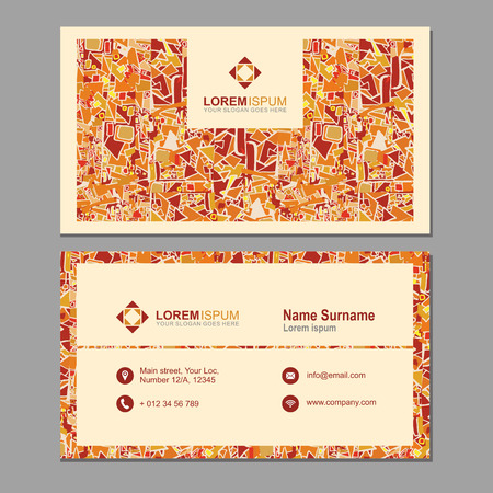 pattern corporate identity orange: visiting card, business card with abstract polygonal pattern. vector corporate identity template with simple design element
