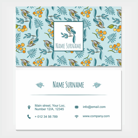 visiting card: visiting card business set template with cute hand drawn pattern birds and rowan. Restaurant, cafe or boutique branding elements. Flyer design with leaves and berries