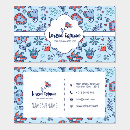visiting card: visiting card or business card set with cute hand drawn floral pattern and bird. Best for corporate identity. Flyer template design.