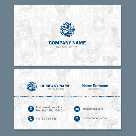 visiting card: Business card or visiting card template with abstract element, blue vector design editable Illustration