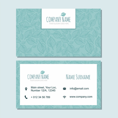 businesscard: visiting card businesscard template with cute hand drawn pattern. Cafe or boutique branding elements. Identity design with leaves.
