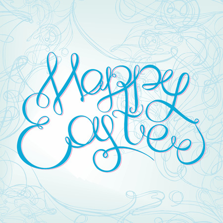 headline: Happy easter Hand drawing lettering headline on decorative swirl blue background. Eastel greeting card