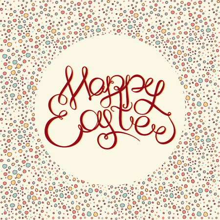 headline: Happy easter Hand drawing lettering headline on decorative background. Eastel greeting card Illustration