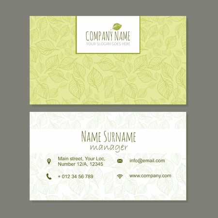 cute cards: visiting card business card template set with cute hand drawn pattern. Cafe or boutique, cosmetic,medical branding elements. Identity design with leaves. Illustration