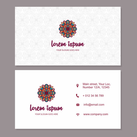 creation of sites: visiting card business card with mandala. identity design set with abstract background. ottoman motifs