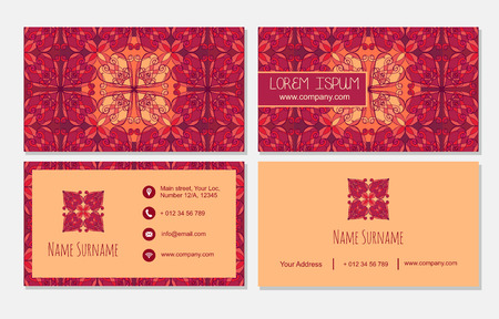 temlate: visiting card set temlate. Vintage decorative element. Ornamental floral business cards, oriental pattern, vector illustration. Islam, Arabic, Indian, turkish, pakistan, chinese, ottoman motifs