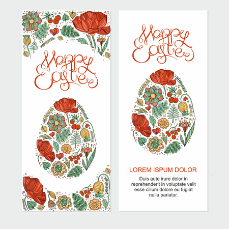 headline: Happy easter cards illustration with easter egg,hand lettering headline on decorative floral background