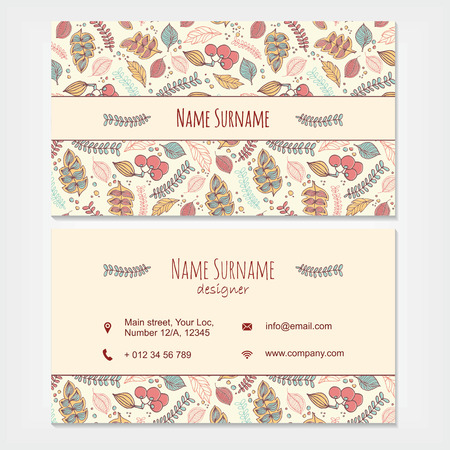 floral elements: visiting card business set template with decorative hand drawn floral pattern. Restaurant, cafe or boutique branding elements. Flyer design with leaves and berries