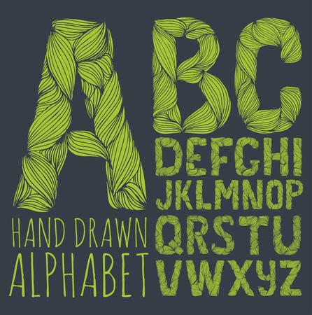 carved letters: decorative alphabet vector font.