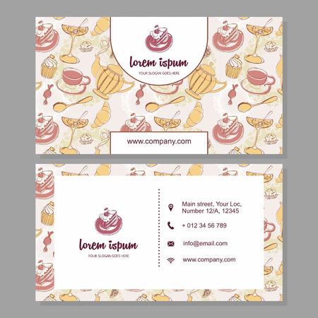 negocios comida: Tarjeta de visita de la tarjeta o de negocios con la mano linda dibuja el estampado de flores. Cafe elementos de marca. diseño de volante con los dulces