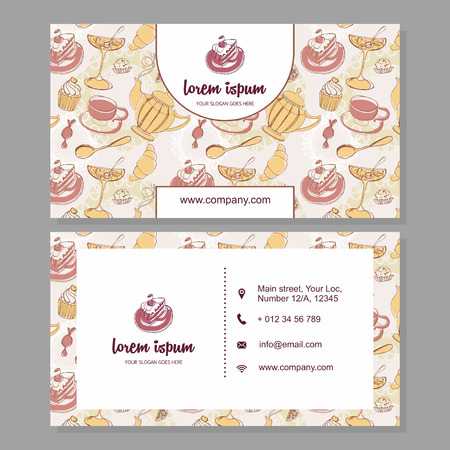 cake background: visiting card or business card with cute hand drawn floral pattern. Cafe branding elements. Flyer design with sweets