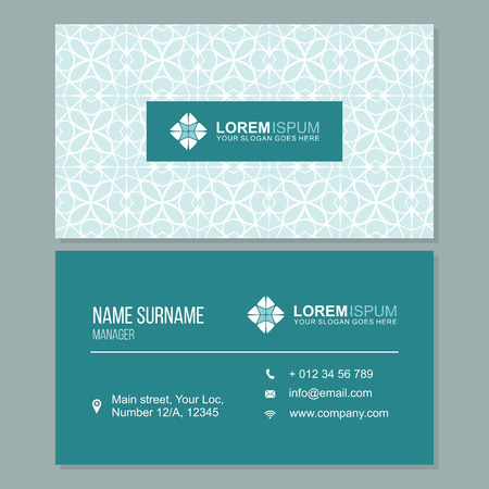 visiting card: visiting card, business card with abstract pattern. vector corporate identity template with simple logo
