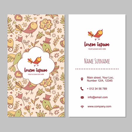 visiting card: visiting card or business card set with cute hand drawn  bird and flowers. Restaurant, cafe or boutique branding elements. Flyer template design.