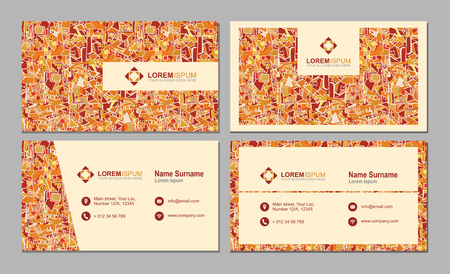 pattern corporate identity orange: visiting card, business card with abstract polygonal pattern. vector corporate identity template with simple logo and design element
