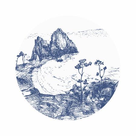 Ensemble de cercles avec des arbres et des silhouettes de montagne. détaillée illustration vectorielle. Paysage du lac Baïkal Banque d'images - 58430463