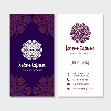 blank business card: Visiting card and business card set with mandala design element logo. Abstract oriental design Layout. Front page and back page.