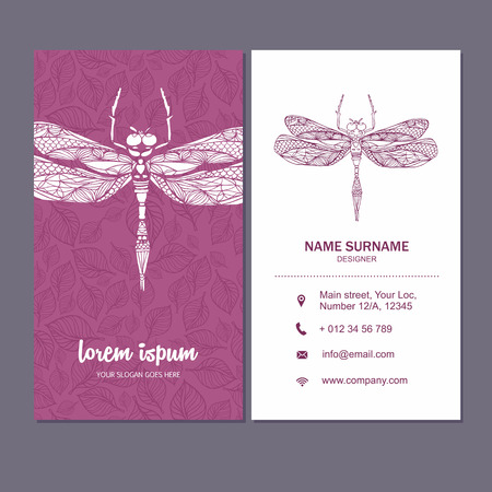 visiting card: Business card or visiting card template with dragonfly logo element. Vector design editable layout