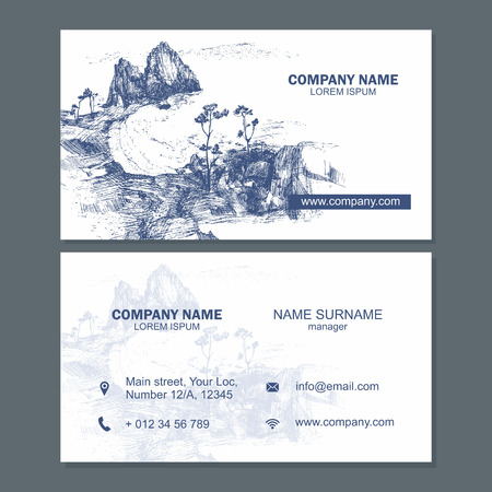 visiting card: Business card or visiting card design template. Vector flyer layout,hand drawn background with landscape for magazine, cover, poster design.