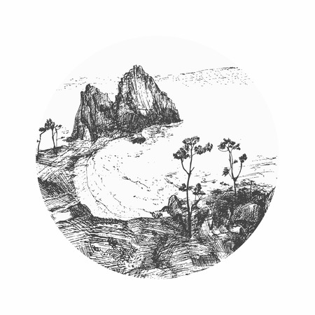 alder: Set of circles with trees and mountain silhouettes. detailed vector illustration. Landscape of Baikal lake Illustration