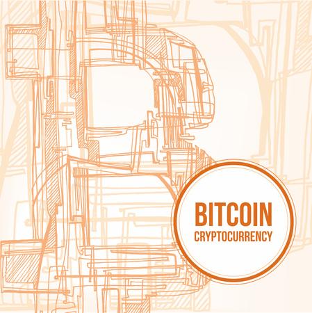 hand drawn abstract orange Bitcoin symbol