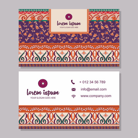 business card or visiting card template with boho style pattern background.corporate identity design. Flyer Layout. Illustration