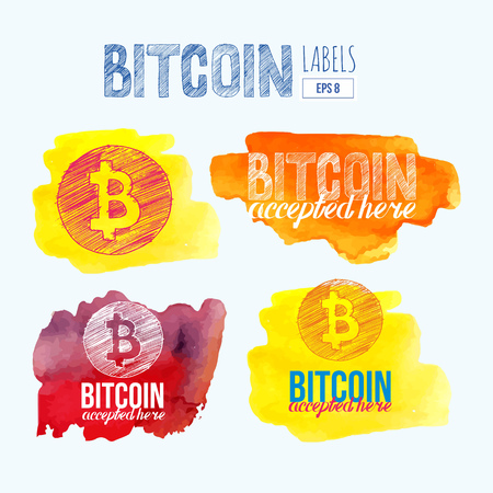 hand drawn Bitcoin symbol and letters bitcoin accepted here on watercolor splash background