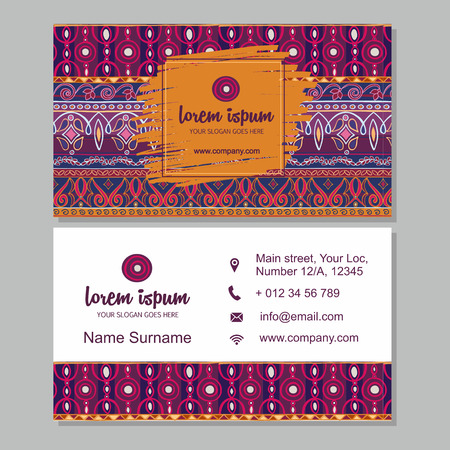 business card or visiting card template  with boho style pattern background.corporate identity design. Flyer Layout.