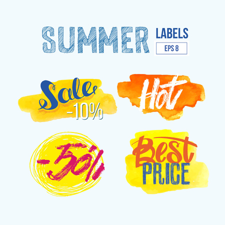 set of watercolor sale and discount labels. hand drawn splash textures.