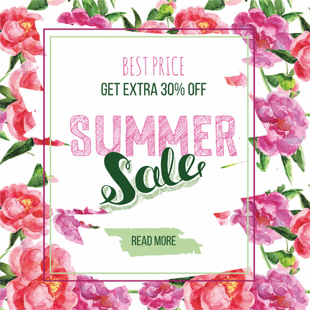 sale tag: Summer Sale decorative banner. Floral background. Hand drawn lettering Sale tag. Sale poster with flowers pions. Illustration