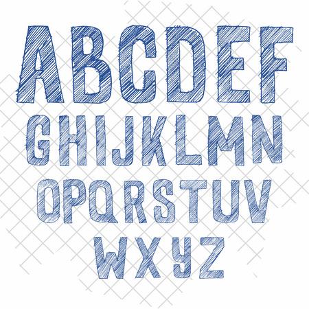 carved letters: hand drawn sketchy alphabet vector font. Illustration