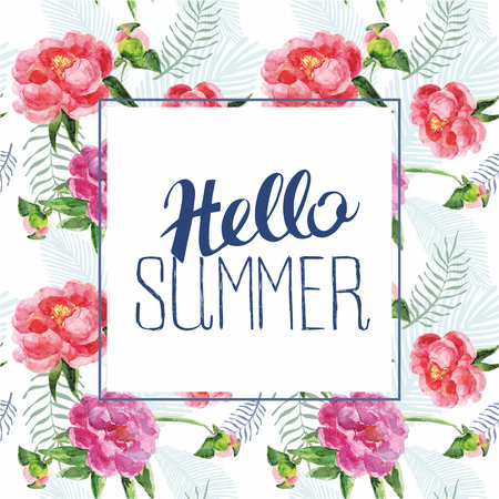 pion: Vector floral card with lettering phrase hello summer. Vintage print background with flowers and leaves. Illustration