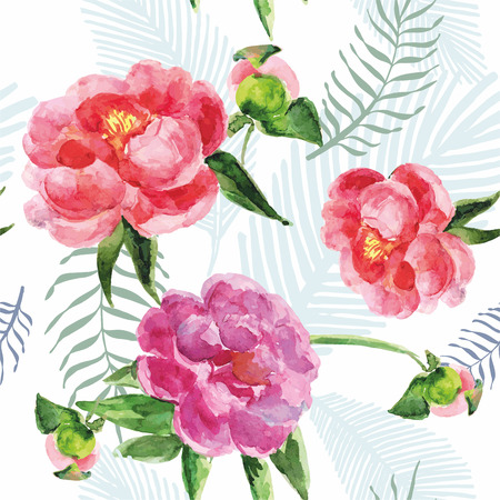 pink vintage: Summer vintage seamless pattern with pions flowers and leaves in boho style, natural greeting card