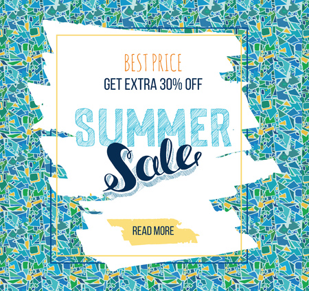 reflection of life: Summer Sale decorative banner or business card. Hand drawn lettering Sale tag. Sale poster with abstract background. Illustration