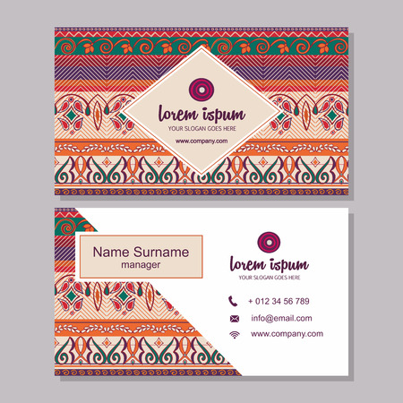 visiting card: business card or visiting card template with boho style pattern background.corporate identity design. Flyer Layout. Illustration