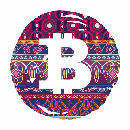 arabic currency: Bitcoin symbol  on decorative background with otooman motifs