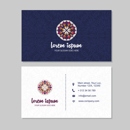Visiting card and business card set with mandala pattern and simple . Abstract oriental design Layout. Front page and back page. Stock Vector - 59961823