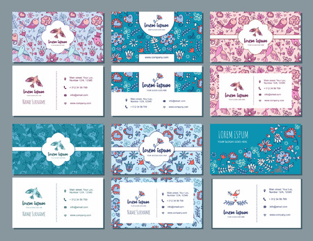 visiting card or business card set with cute hand drawn floral pattern and bird . Best for corporate identity. Flyer template design.
