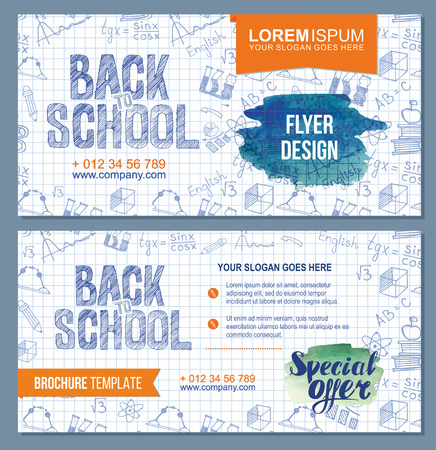Back to school flyer template with  different school obgects. school banners set with green and blue watercolor splashes. Vector Brochure design