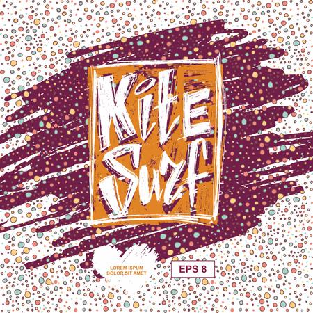 kitesurf: Design t-shirt with tag kitesurf.  Kite surfing school emblem design with decorative abstract background. vector illustration. Illustration