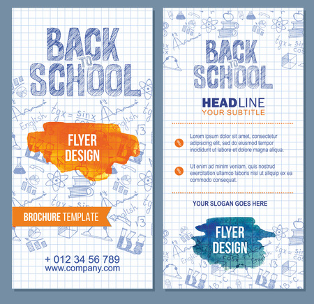 Back To School Banner Or Flyer Template Set With Different School