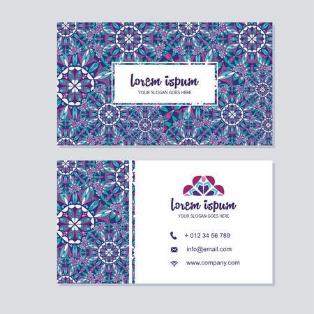访问卡片和名片设置与曼荼罗图案和简单。抽象东方设计布局。首页和后页。