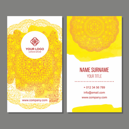 splash back: Visiting card and business card set with mandala pattern and simple . Abstract oriental design Layout with watercolor splash background. Front page and back page. Illustration