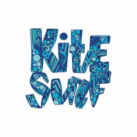kite surfing: Design t-shirt with tag kitesurf.  hand drawn Kite surfing school emblem design. vector illustration.