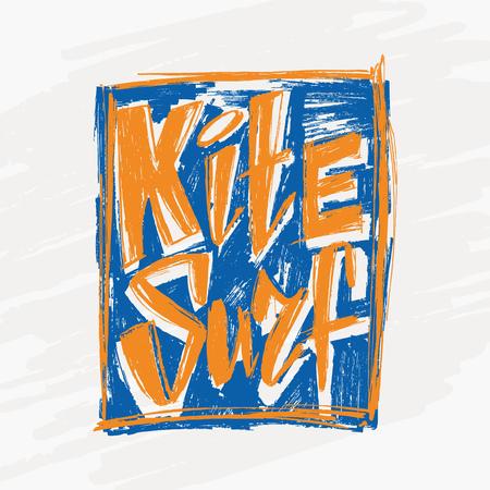 Design t-shirt with tag kitesurf. hand drawn Kite surfing school emblem design. vector illustration.